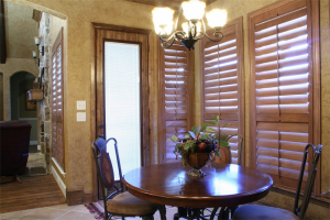 beautiful brown dining room shutters - san diego shutters