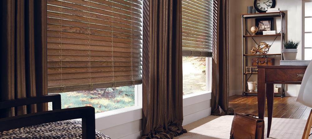 brown blinds and draperies - Southern California Window Coverings