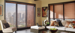 brown living room shutters - Southern California Window Coverings