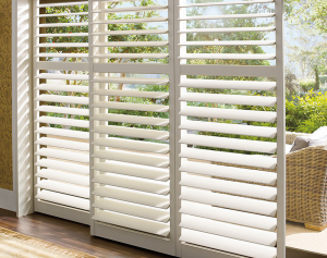 bypass white shutters - Southern California Window Coverings
