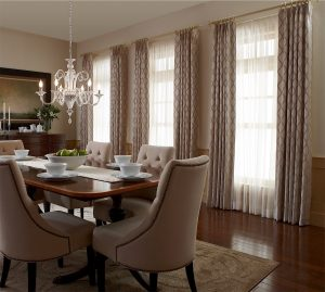Draperies In Dining Room - Wildomar Draperies