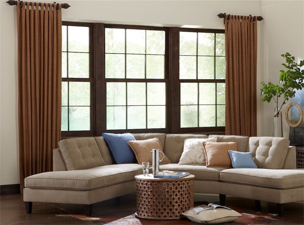 Brown Draperies In Living Room - Menifee Draperies