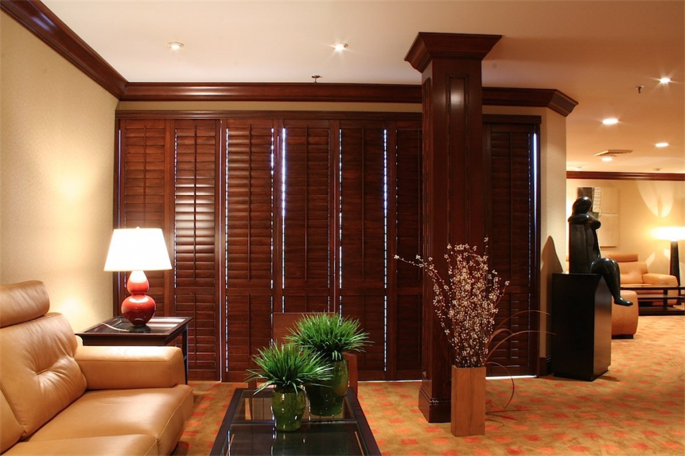 dark brown living room shutters - san diego shutters