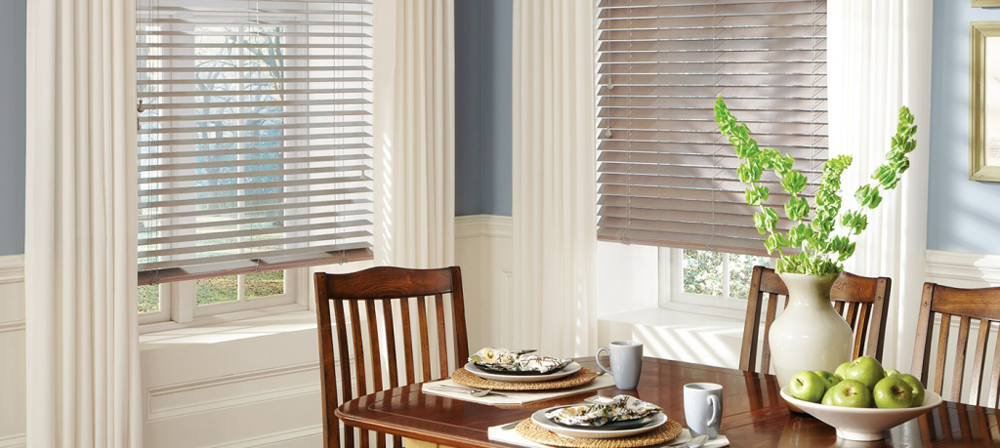 dining room shutters and draperies - Southern California Window Coverings