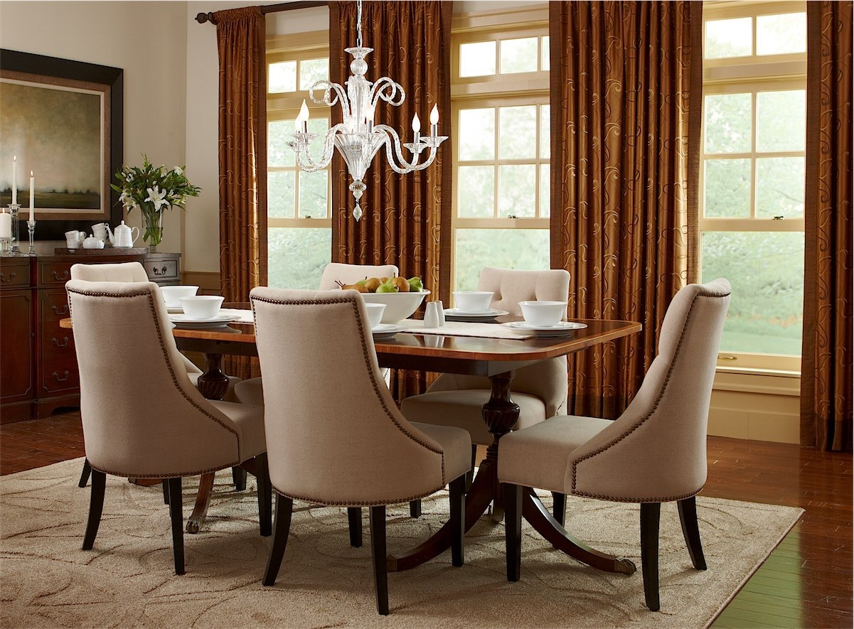Brown Draperies In Dining Room - Temecula Draperies