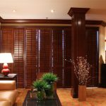 Wooden Shutters In Living Room - San Diego Shutters