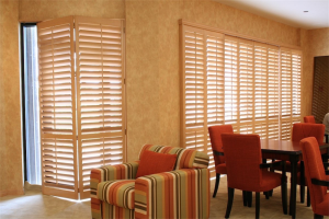 tan shutters - Southern California Window Coverings