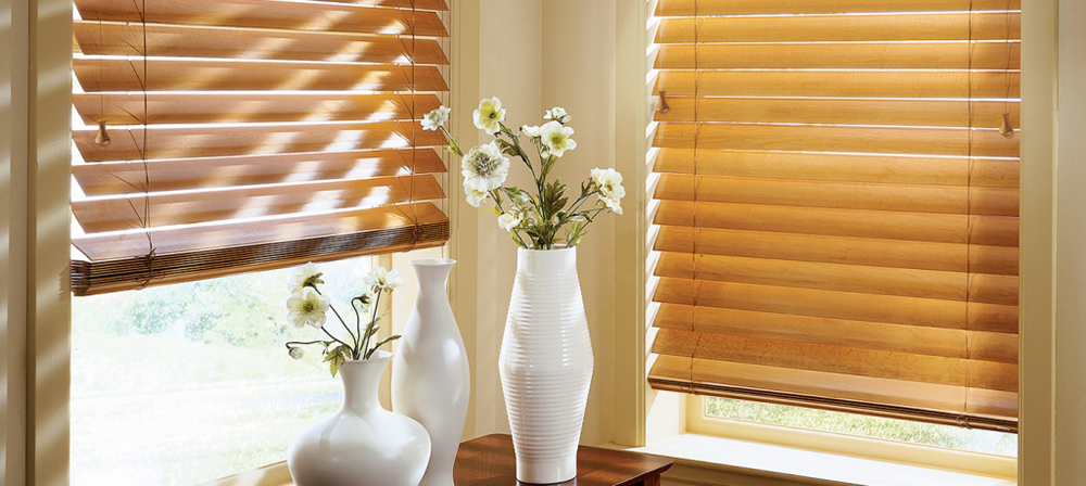 tan wooden blinds - Southern California Window Coverings