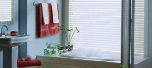 white bathroom blinds - san diego blinds