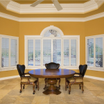 White Shutters in dining room - Southern California Window Coverings