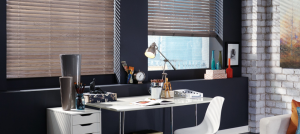 Wooden Blinds and Home Desk - Southern California Window Coverings