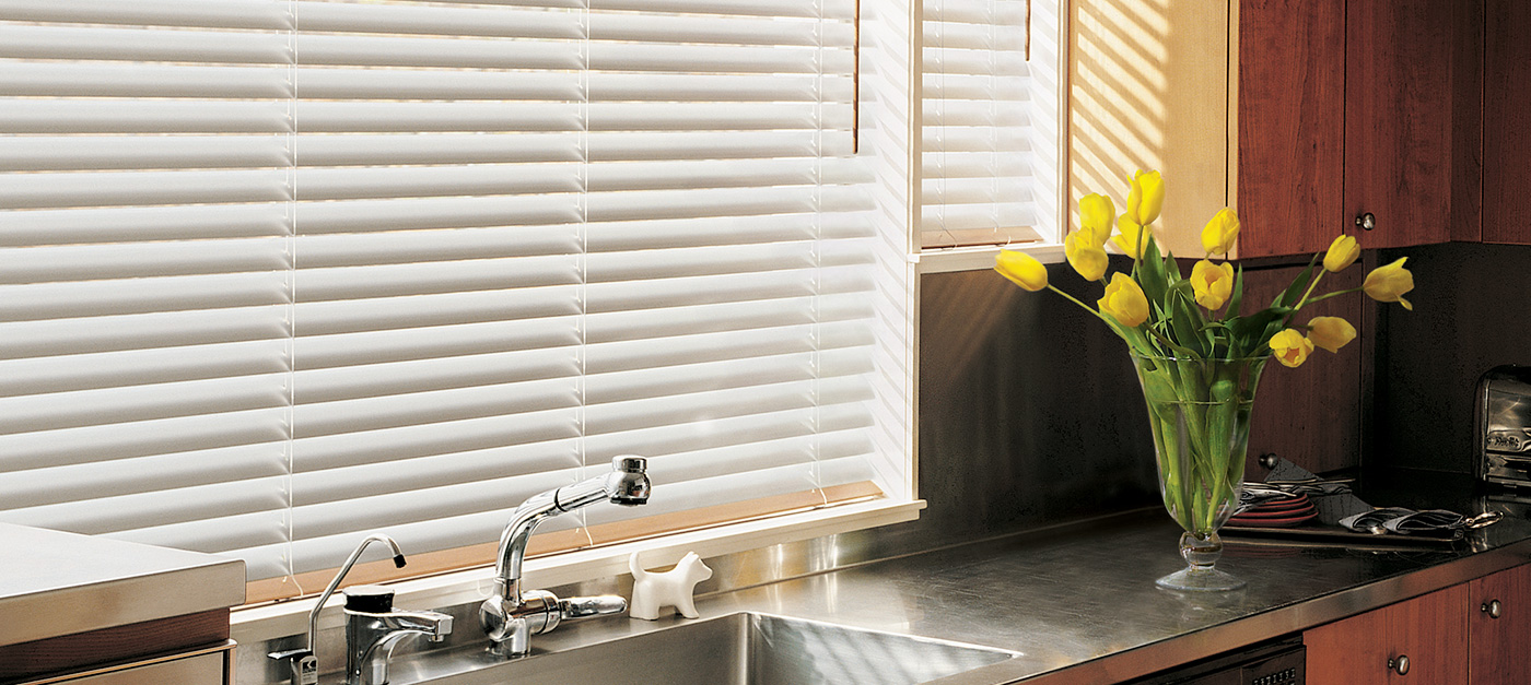 White Blinds In Kitchen - San Diego Blinds