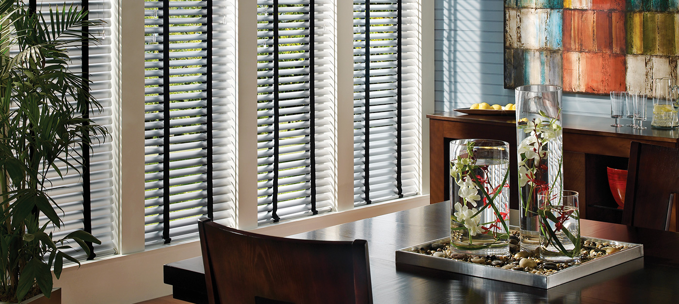 White Blinds In Dining Room - Custom Blinds Temecula