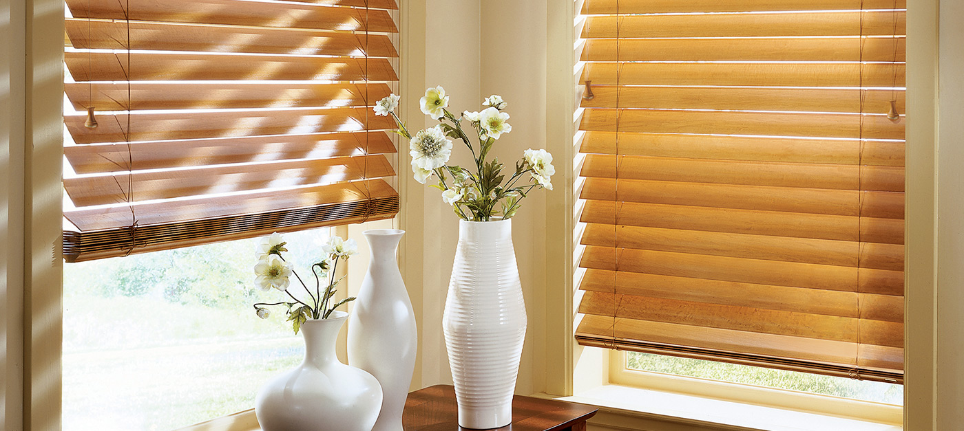 Tan Blinds and Flower Pots - Murrieta Custom Blinds