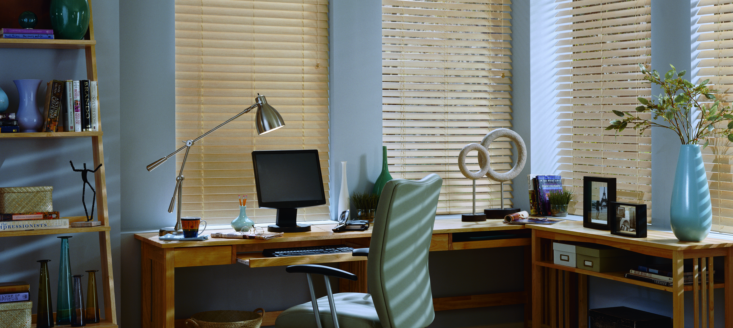 Tan Blinds In Office - Window Blinds Menifee